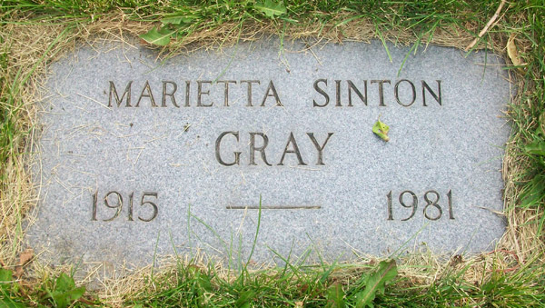 Headstone of Marietta Gray 1915 - 1981