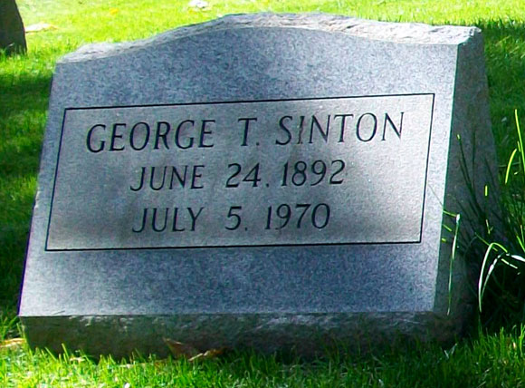 Photograph of George Taylor Sinton Headstone