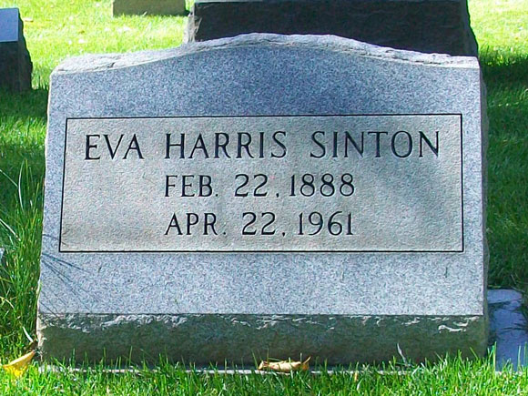 Photograph of Eva Harris Sinton Headstone