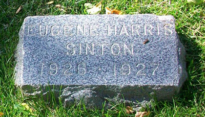 Headstone of Eugene Harris Sinton 1926 - 1927