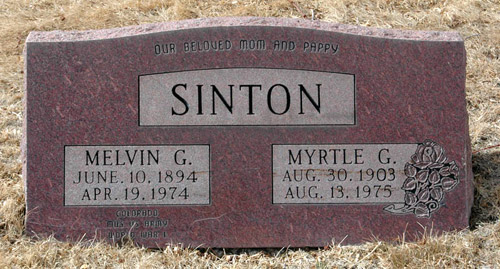 Photograph of Melvin Grant Sinton Headstone