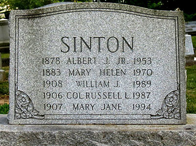 Headstone of Albert Jonathan Sinton 1878 - 1953