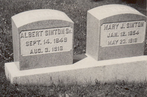 Headstone of Albert Jonathan Sinton 1849-1916