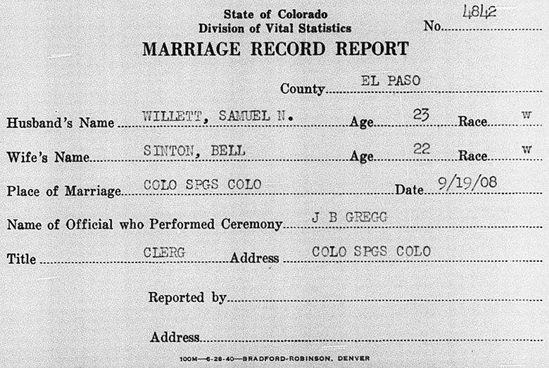 Marriage Record of Samuel N. Willett and Bell Sinton - 19 September 1908