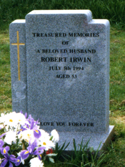 Headstone of Robert Irwin 1941-1994