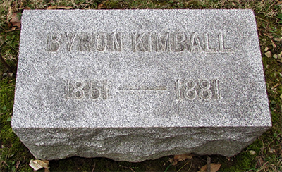 Headstone of Byron Kimball 1861 - 1881