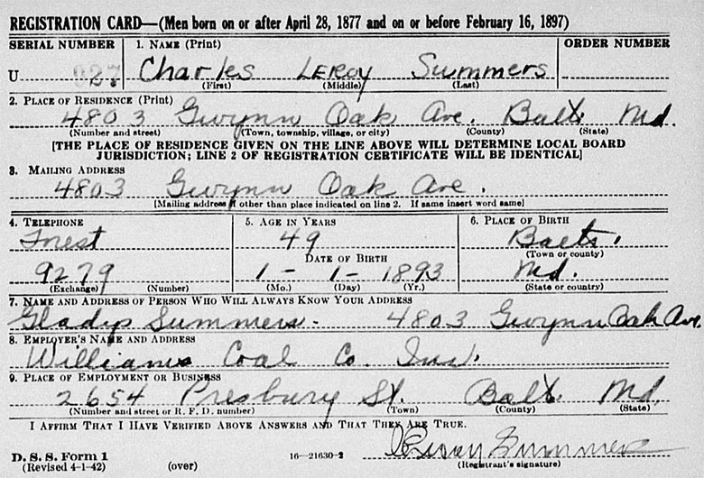 World War II Draft Registration of Charles Leroy Summers