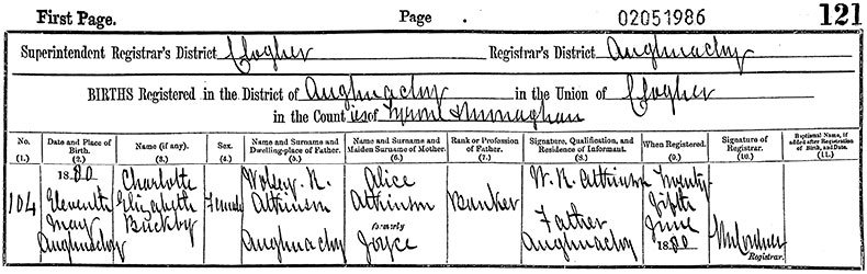 Birth Certificate of Charlotte Elizabeth Buckby Atkinson - 11 May 1880