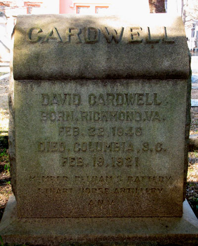 Headstone of David Cardwell, Columbia, South Carolina, USA