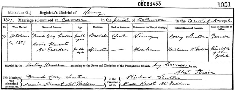 Marriage Certificate of David Corry Sinton and Annie Stuart McFadden - 3 October 1877