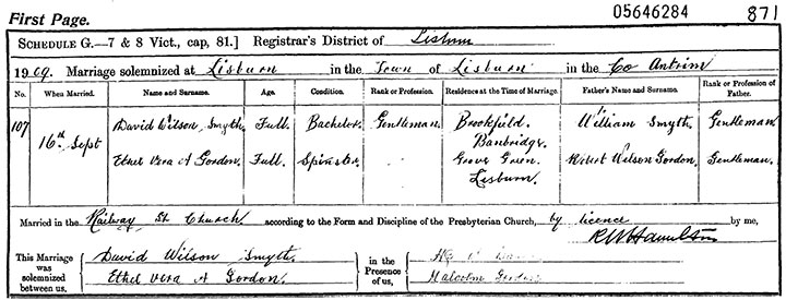 Marriage Certificate of David Wilson Smyth and Ethel Vera A. Gordon - 16 September 1909