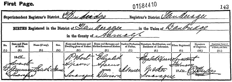 Birth Certificate of Edith Speers - 7 January 1914