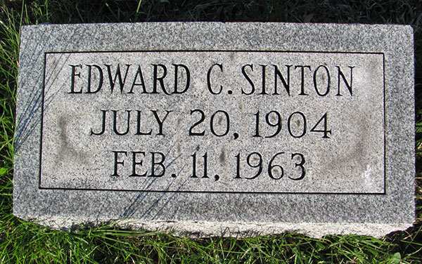 Headstone of Edward Charles Sinton 1904 - 1963
