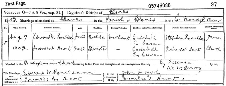 Marriage Certificate of Edward Ronaldson and Frances Anderson Hunt - 7 August 1902