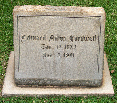 Headstone of Edward Sinton Cardwell 1879 - 1941
