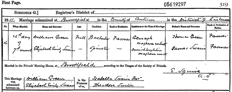 Marriage Certificate of William Green and Elizabeth Emily Swain - 26 July 1911
