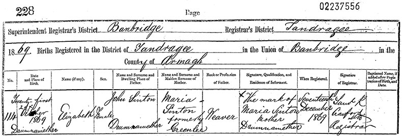 Birth Certificate of Elizabeth Sinton, Drumnamether, Tandragee - 21 October 1869