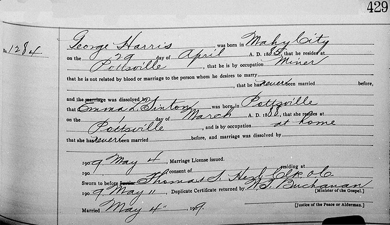Marriage Registration of George Edward Harris and Emma L. Sinton - 4 May 1909