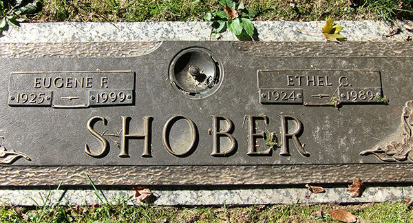 Headstone of Ethel C. Shober (née Sinton) 1924 - 1989