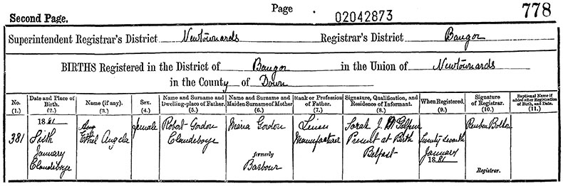 Birth Certificate of Ethel Vera Angela Gordon - 6 January 1881