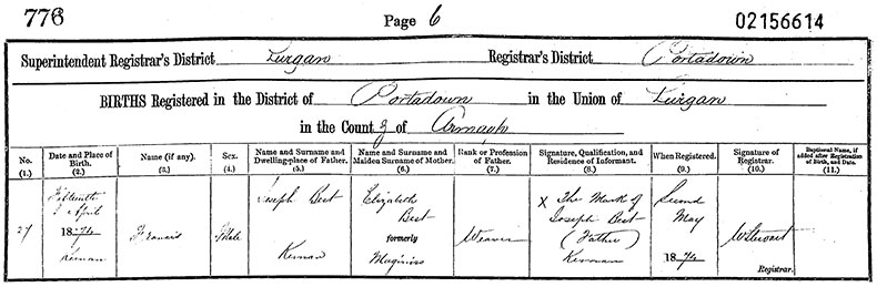 Birth Certificate of Francis Best - 15 April 1874