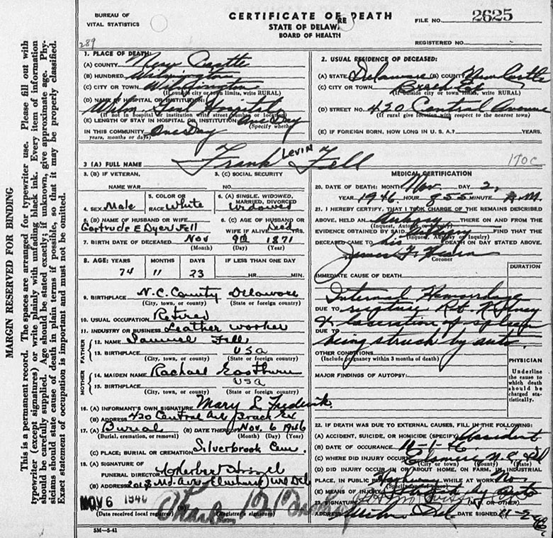 Death Certificate of Frank Levin Fell