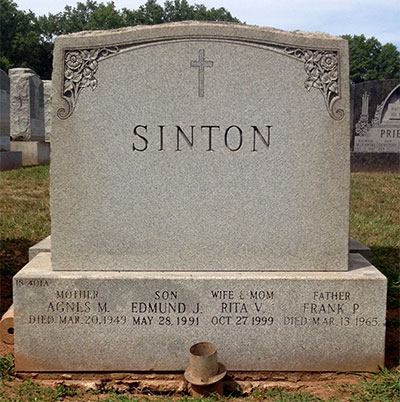 Headstone of Frank Puttney Sinton 1890 - 1965