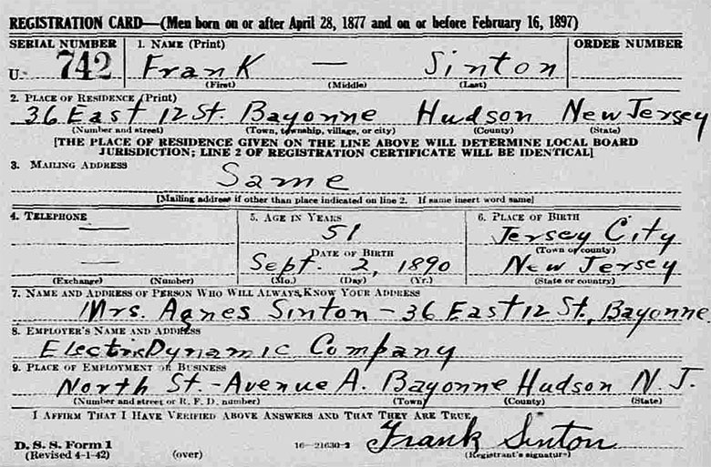 World War II Draft Registration of Frank Puttney Sinton