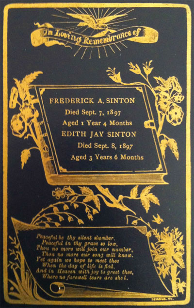 Memorial Card for Frederick A. Sinton 1896-1897