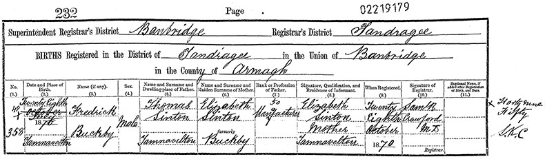 Birth Certificate of Frederick Buckby Sinton - 27 July 1870