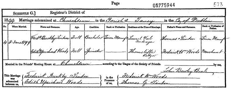 Marriage Certificate of William Callaghan and Margaret Johnston - 25 June 1903