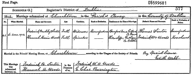 Marriage Certificate of Frederick Buckby Sinton and Hannah Maria Woods - 6 February 1912