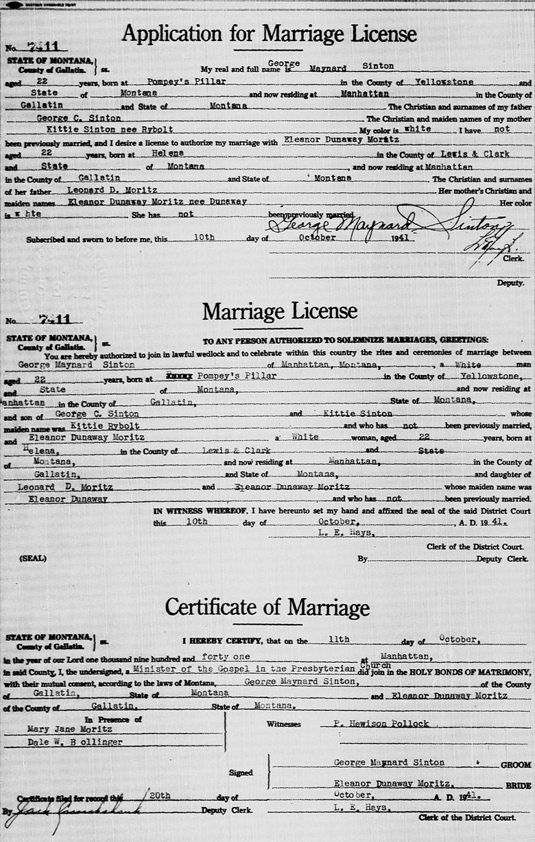 Marriage License and Certificate of George Maynard Sinton and Eleanor Dunaway Moritz