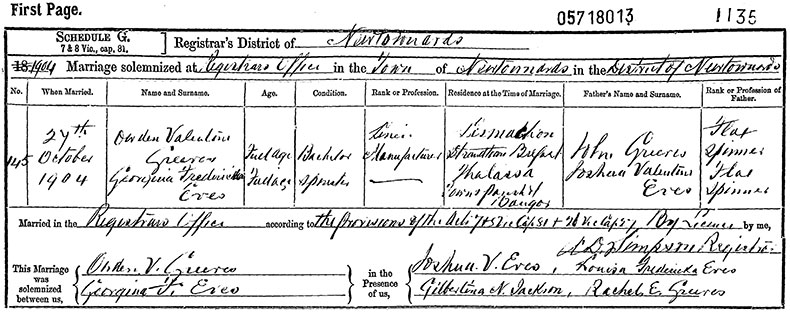 Marriage Certificate of Owden Valentine Greeves and Georgina Fredericka Eves - 27 October 1904