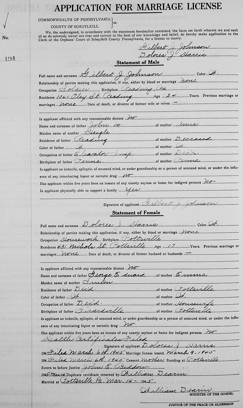 Marriage certificate of Gilbert J. Johnson and Delores J. Harris