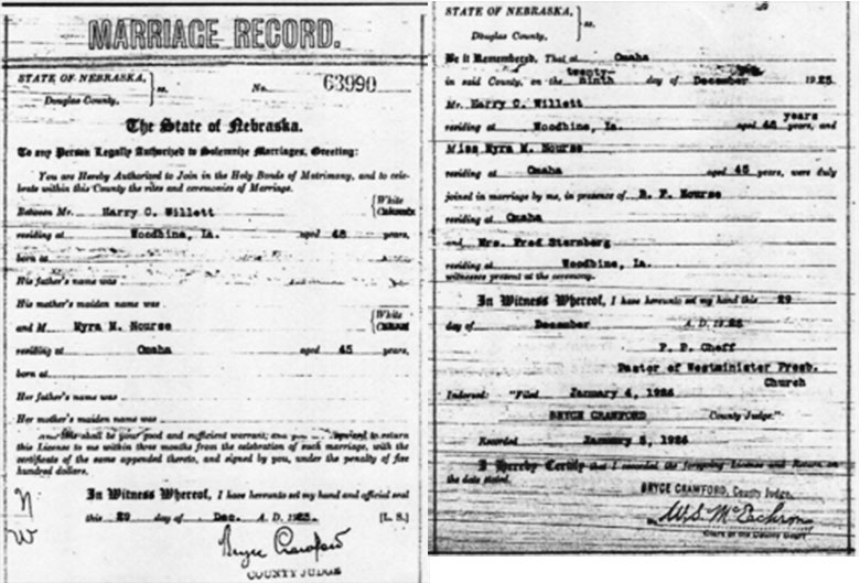 Marriage Details of Harry Cortez Willett and Myra Moore Nourse - 29 December 1925