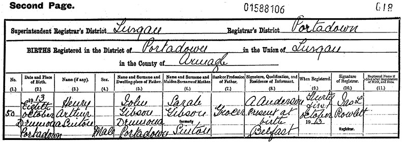 Birth Certificate of Henry Arthur Sinton Gibson - 8 October 1913