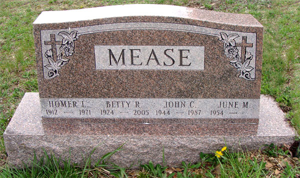 Headstone of Homer L. Mease 1944 - 1987