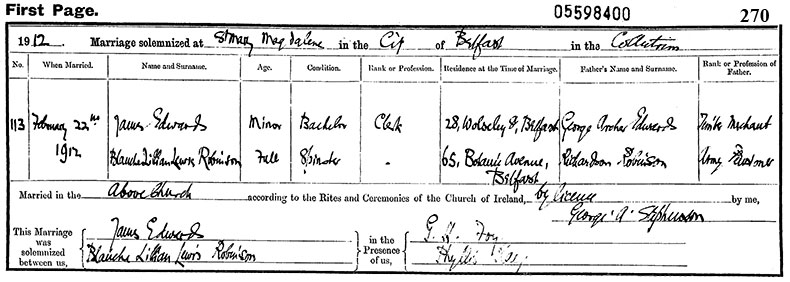 Marriage Certificate of James Edwards and Blanche Lilian Lewis Robinson - 22 February 1912