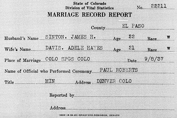 Marriage details of James Herbert Sinton and Adele Hayes