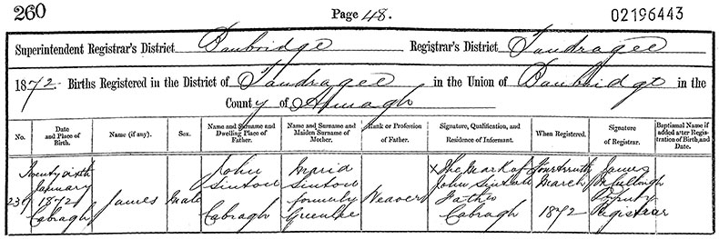 Birth Certificate of James Sinton - 26 January 1872