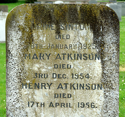 Headstone of Henry Francis Atkinson 1877 - 1956
