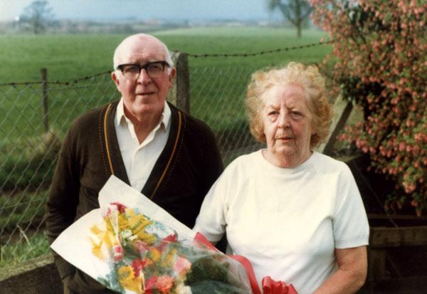 Joe and Violet Evans on their Golden Wedding Anniversary 1985