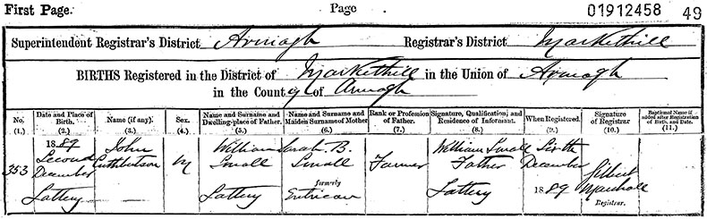 Birth Certificate of John Cuthbertson Small - 2 December 1889