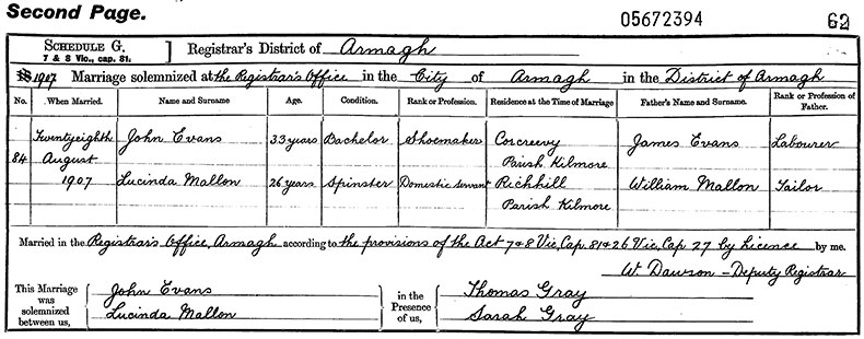 Marriage Certificate of John Evans and Lucinda Mallon - 28 August 1907