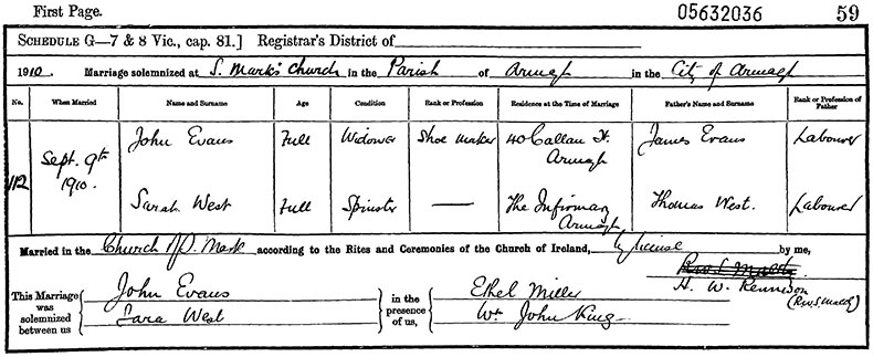Marriage Certificate of John Evans and Sarah West - 9 September 1910