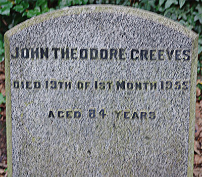 Headstone of John Theodore Greeves 1870 - 1955