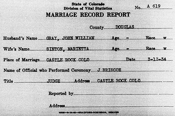 Marriage Record Report of John William Gray and Marietta Sinton