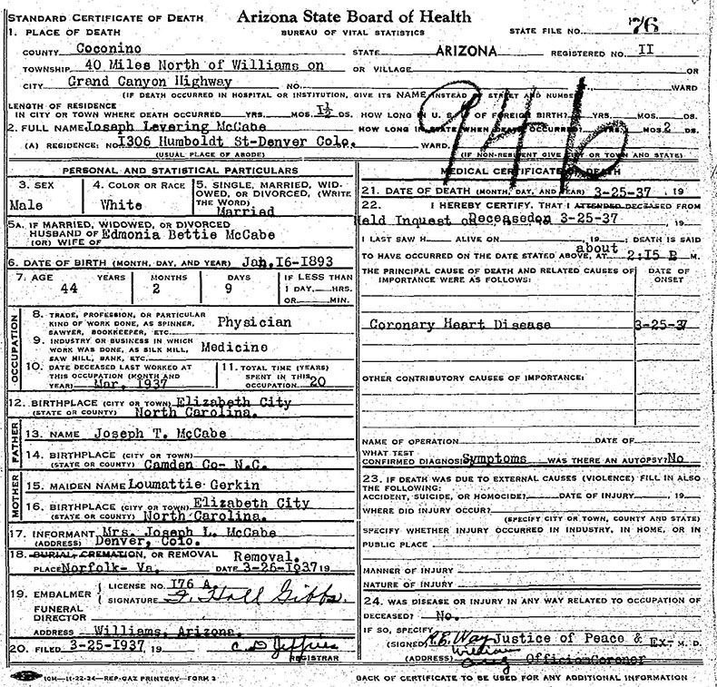 Death Certificate for Joseph Levering McCabe - 25 March 1937