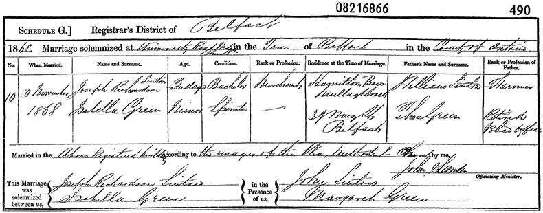Marriage Certificate of Joseph Richardson Sinton and Isabella Green - 10 November 1868